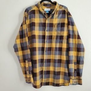 Mens Columbia Out and Back II Plaid Button Down XL
